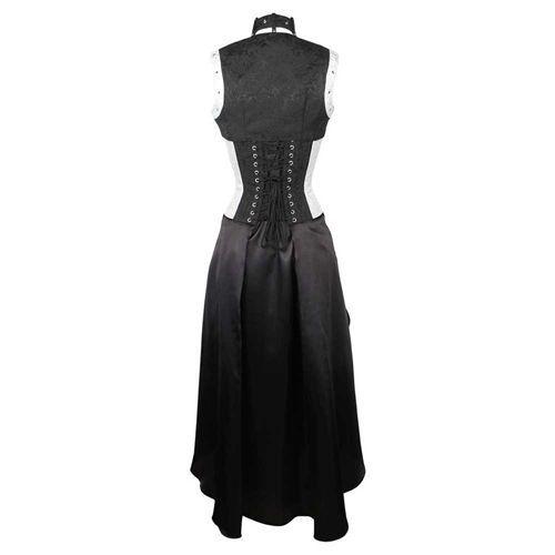 Steampunk korset jurk met bolero, gedrapeerde rok en gesp detail wit brokaat/zwart - Steampunk