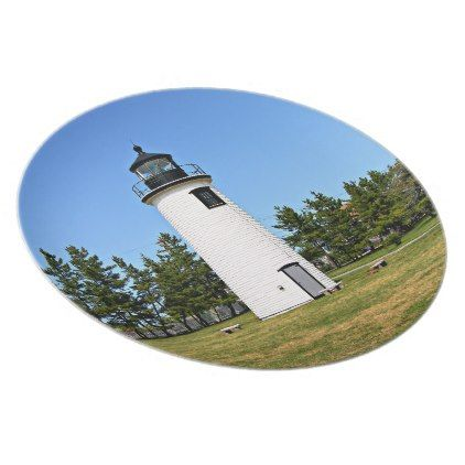 Plum Island Lighthouse Massachusetts Photo Plate - decor gifts diy home & living cyo giftidea
