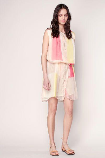 Robe ample fluide rose pâle motifs carreaux jaune/rose Qart 2