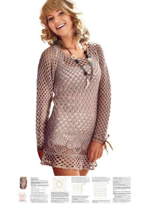 Crochet tunic PATTERN crochet mini dress by OnlyFavoritePATTERNs