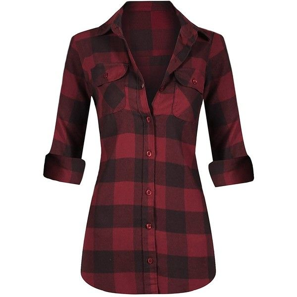 HOT FROM HOLLYWOOD Women's Long Sleeve Button Down Plaid Flannel Shirt ($20) ❤ liked on Polyvore featuring tops, flannel shirt, plaid flannel shirt, button up shirts, red top and red button down shirt