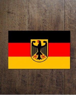 Флаг Германии с гербом.  размеры: 40х60 ; 60х90 ; 120х80 ; 90х145 см,см.  Цена флага варьируется в зависимости от его размера.  Материал: искусственный шелк (полиэстр)  Способ нанесения изображения: сублимационная печать.  Имеет карман для флагштока. магазин_bunkers