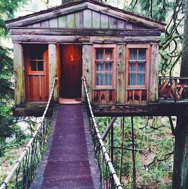 Treehouse Point in Fall City, Washington  Located only 30 minutes outside of Seattle, Treehouse Point offers many different options for your vacation. Each one allows visitors a tranquil private home to enjoy the quiet and listen to the birds. BONUS: Want a treehouse of your own? They have designers who can help create a space just for you!