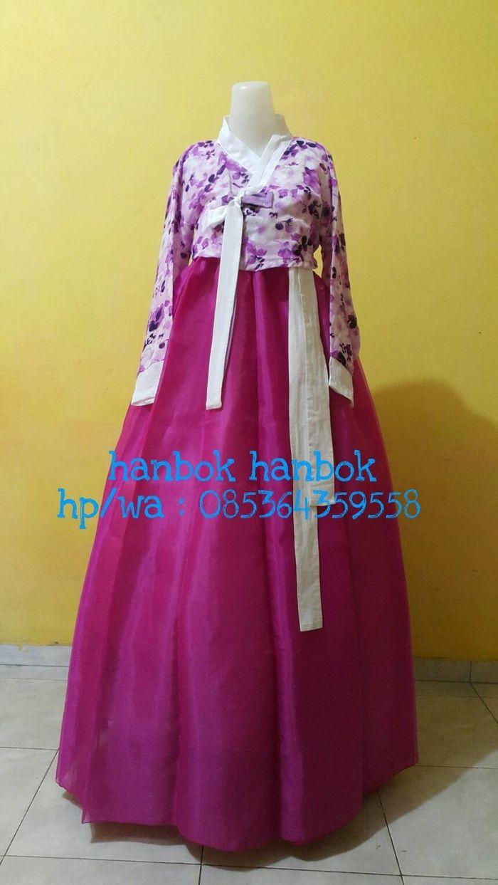 Hanbok set motif bunga ungu ready stok