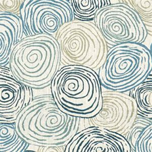 this is a blue gray and natural spiral circle design linen drapery fabric suitable for any decor in the home or office perfect for pillows drapes and