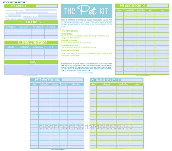 The EDITABLE Pet Kit  4 documents  INSTANT by CleanMamaPrintables