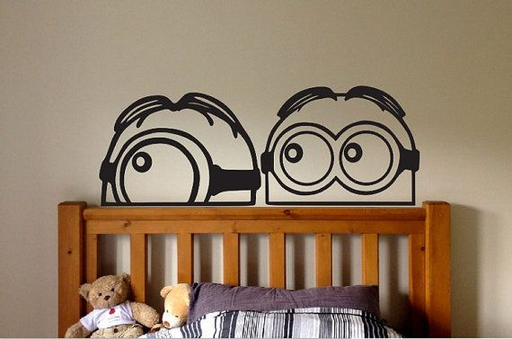 Minion minions Vinyl Wall Decal Sticker Despicable me peeking Large kids bedroom fun nursery disney funny bedroom dream book minion minion on Etsy, $4.75