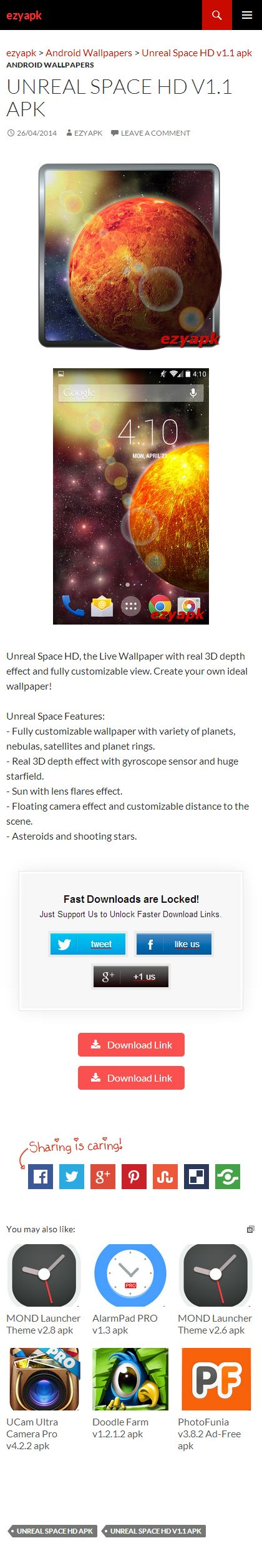 Unreal Space HD v1.1 apk Android apps