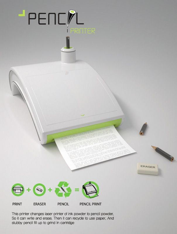 a printer that uses pencil. No more expensive ink, and its erasable!-I wonder if it works well!