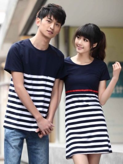 New Arrival Fashion Round Collar stripe couple shirts