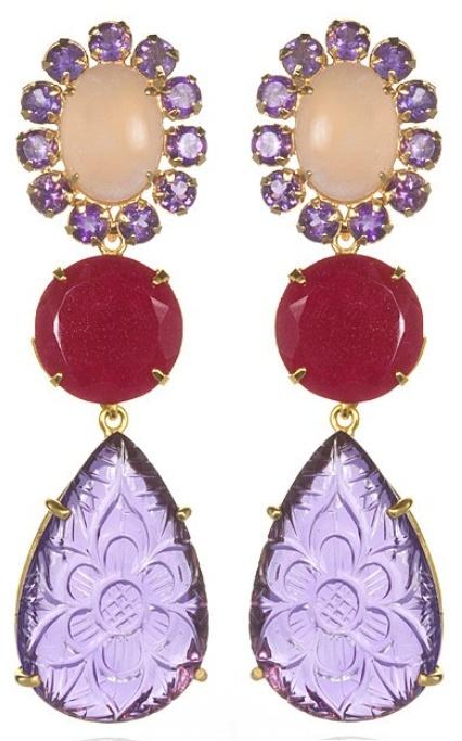 Bounkit Amethyst Rose Quartz Ruby Convertible Earrings Via Diamonds In The Library