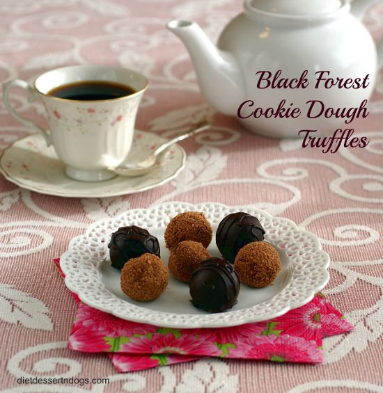 Black Forest Cookie Dough Truffles--with a secret ingredient that makes these super easy! Only whole food ingredients, no refined sugars--vegan and gluten-free, too!