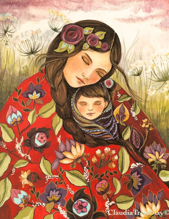 Madre y el niño en el edredón rojo arte grabado por claudiatremblay