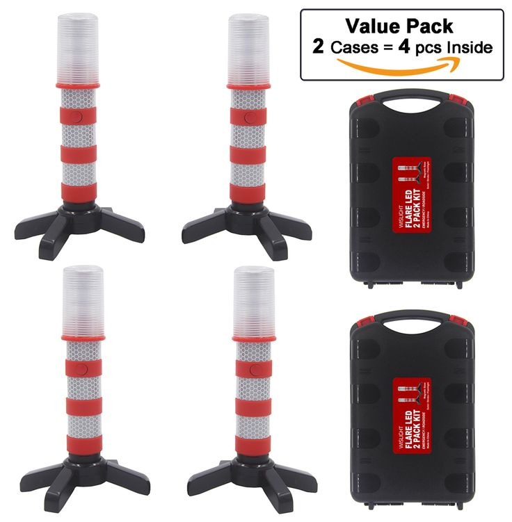 LED Emergency Roadside Flashing Flares Safety Strobe Light - Road Warning Beacon (Solid/Strobe/Flashlight), Magnetic Base, Detachable Stand, Storage Case (2 Cases = 4 PCS, Battery Not Included)