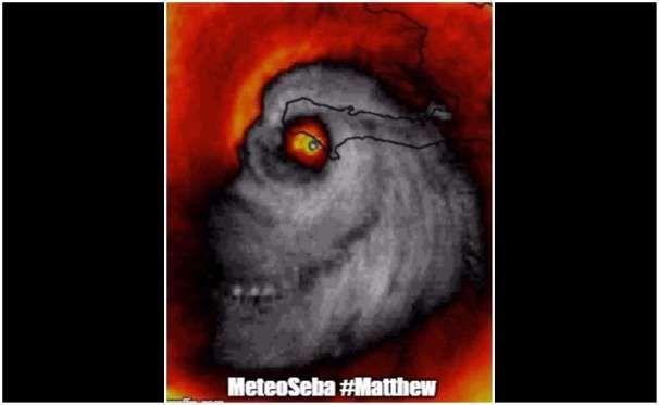 Imagen satelital de Matthew previo a impactar Haití que se volvió viral por asemejar a una calavera - Proporcionado por El Universal Compañía Periodística S.A. de C.V.