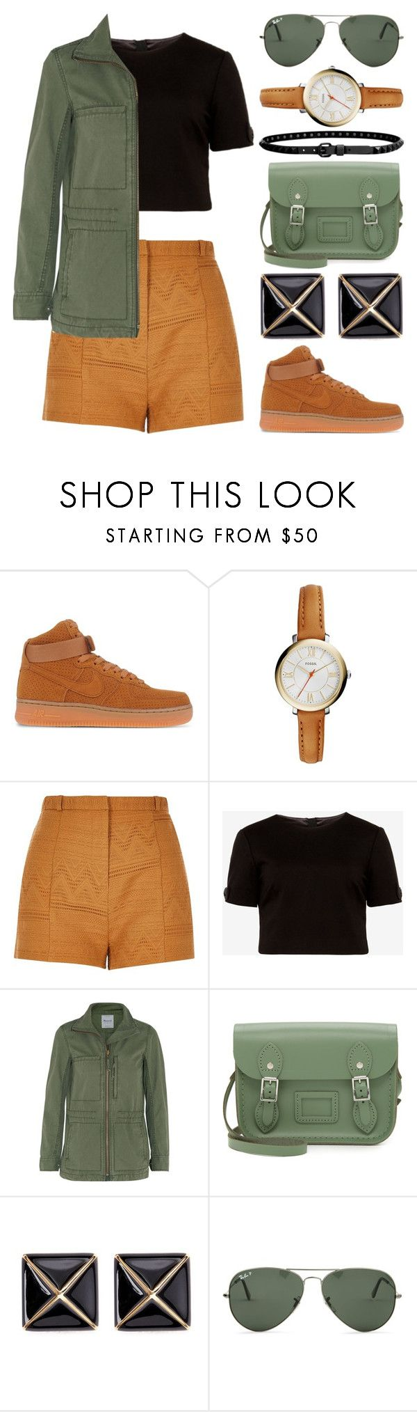 """Untitled 133"" by meaganmuffins ❤ liked on Polyvore featuring NIKE, FOSSIL, River Island, Ted Baker, Madewell, The Cambridge Satchel Company, Kenneth Jay Lane, Ray-Ban, Linea Pelle and croptop"