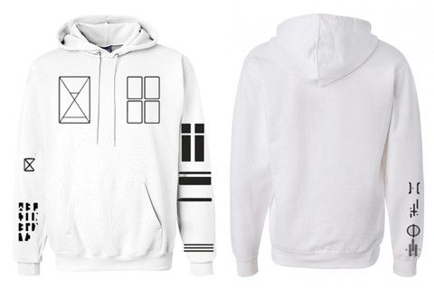 white hoodie with Tyler's tattoos on it • okay I'm going to get this // Twenty Øne Piløts