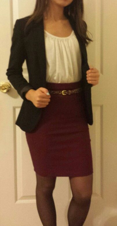cute outfit, skirt is a little short for work though!