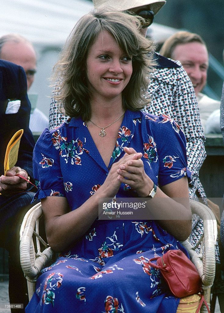 Sabrina Guinness looks on during a polo match at Windsor ...