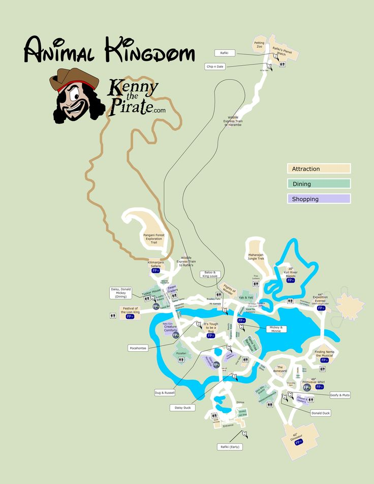 Great map of Animal Kingdom with Fastpass plus locations, rides, shows, characters, dining and shopping locations - from KennythePirate #dvcrentals
