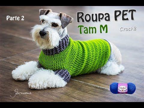 Oi pessoal, nesta aula vamos fazer a roupinha de cachorro feito em crochê, tamanho M para aquecer nossos queridos cachorrinhos do frio! → Veja aqui a parte 1...