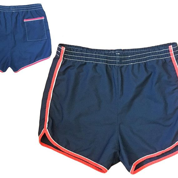 f165bffcb3 Vintage mens retro piped dolphin shorts. -Navy blue with red and white  piping -