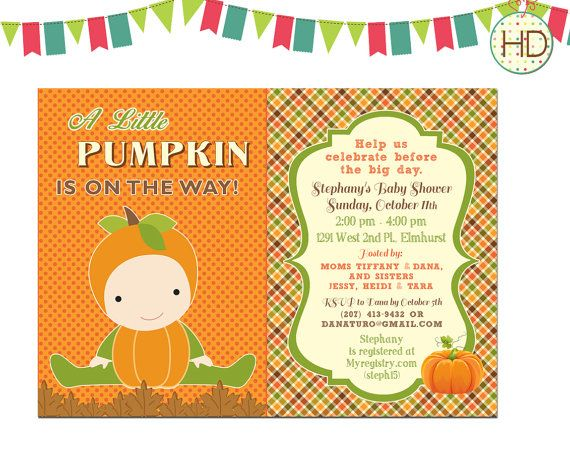 Pumpkin Baby Shower Invitation Fall Baby Shower by HDInvitations