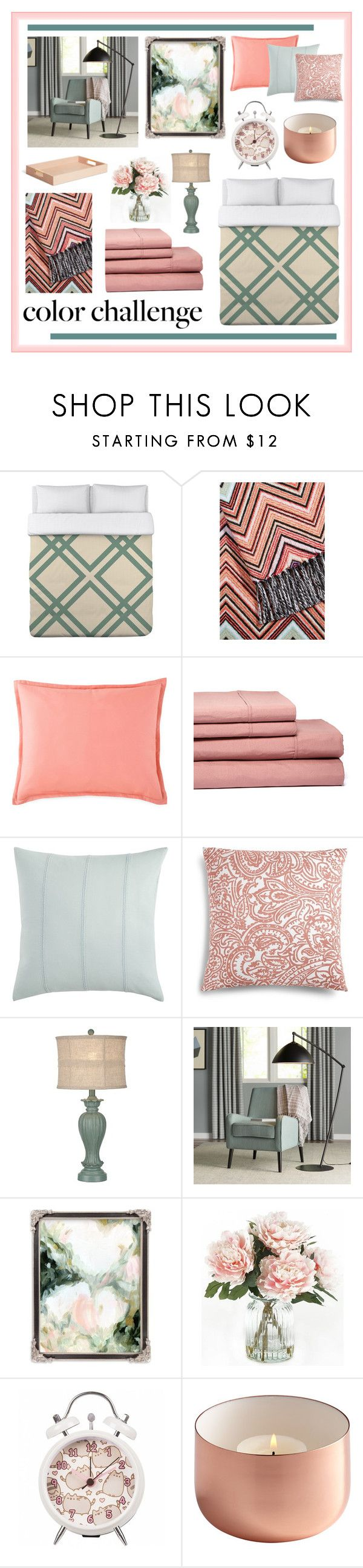 """""""Blush and Green Guest Bedroom"""" by my-pretend-closet ❤ liked on Polyvore featuring interior, interiors, interior design, home, home decor, interior decorating, One Bella Casa, Missoni Home, JCPenney Home and Pier 1 Imports"""
