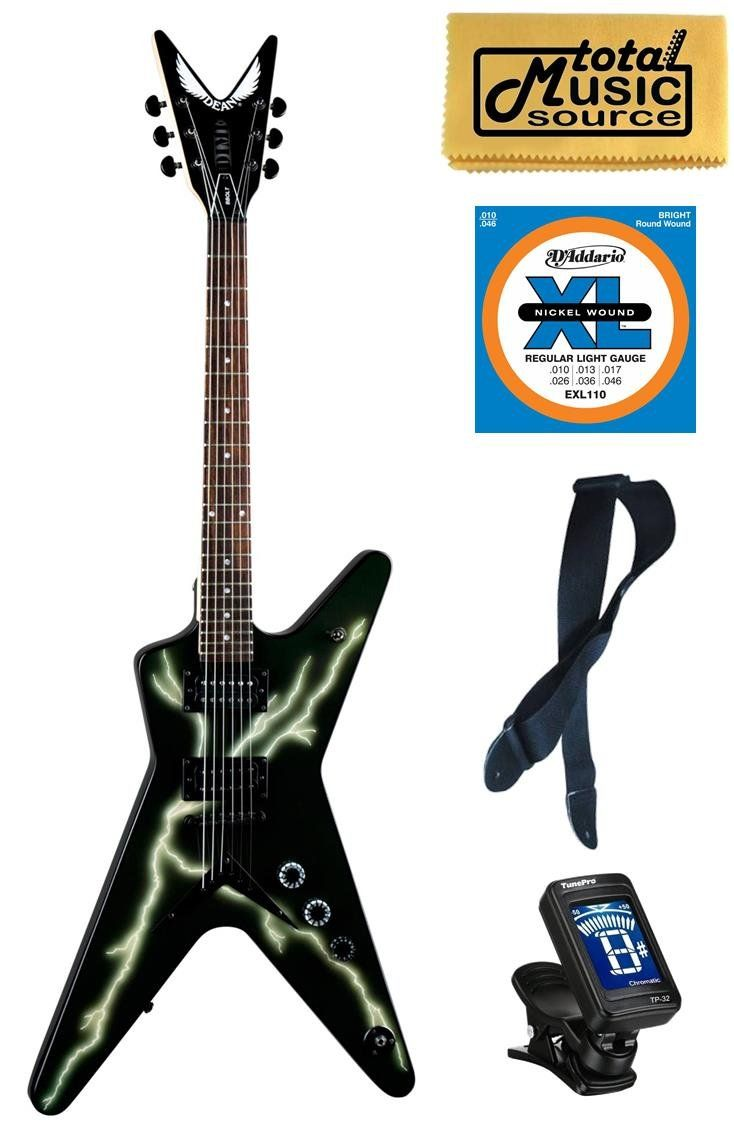 """Dean Dimebag Black Bolt ML Guitar, Tune-O-Matic Bridge, BBOLT FREE EXTRAS. Dean DimeBag Black Bolt ML Electric Guitar **Includes FREE Strap, Clip-on Tuner, TMS Polish Cloth, and an extra set of D'Addario strings**. New Dean DimeBag Black Bolt ML Electric Guitar This ML has Lighting Bolt Custom Graphics, a Mahogany Body & Tune-O-Matic Bridge!!. Features: Model: BBOLT Basswood Top/Body Scale Length: 24-3/4"""" Bolt on Maple Neck Rosewood Fingerboard Pearl Dot Inlays Grover Tuners Black…"""