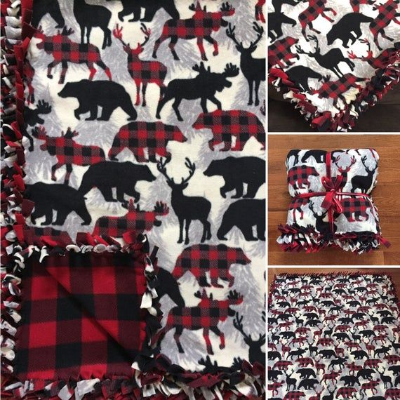 Plaid Home For The Holidays Fleece Tie Blanket