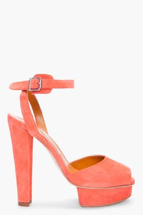 Carven Coral Suede Heels for women | SSENSE