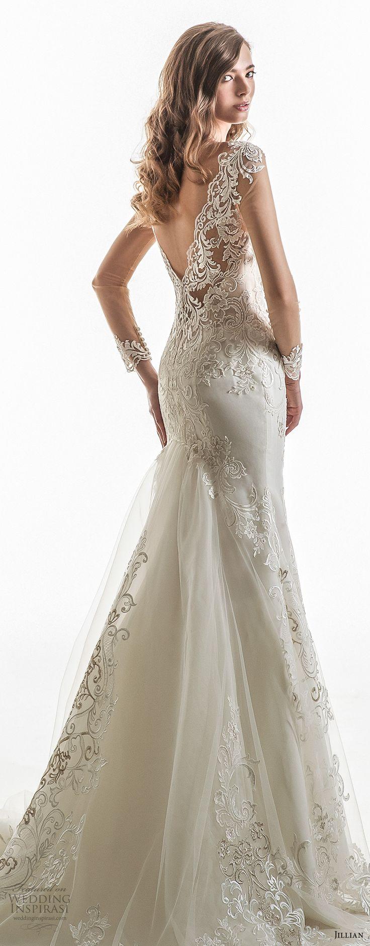jillian 2018 bridal cap sleeves sweetheart neckline heavily embellished bodice elegant sheath wedding dress open v back chapel train (03) zbv -- Jillian 2018 Wedding Dresses