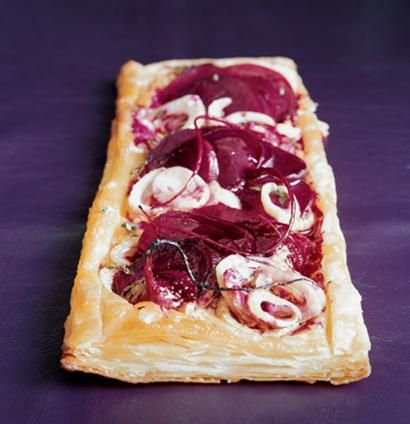Gorgonzola, beetroot and fennel tart