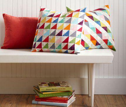 Scrap Lab Pillows by designers @Patty Markison Markison Markison Prann Young and Emalee Grambo of Modkid. Fabrics are from the Blueprint Basics collection by Valori Wells for @Robert Goris Goris Goris Kaufman Fabrics.