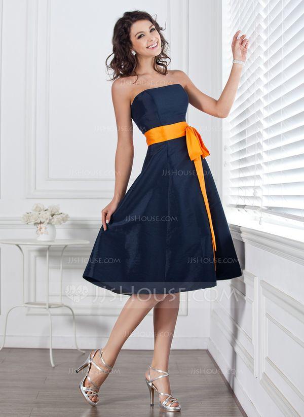Forme Princesse Sans bretelle Mi-longues Taffeta Robe de demoiselle d'honneur avec Ceintures À ruban(s) (007004106)