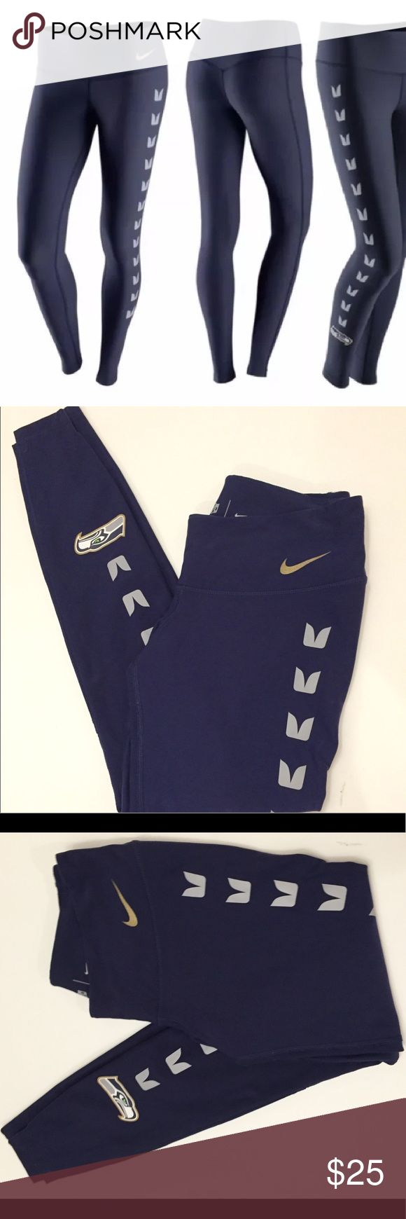 Nike DriFit Nfl Seattle Seahawks Leggings Small MAKE an offer  Dri FIT fabric to wick away sweat and help keep you dry and comfortable Mid-rise with a fit that hugs your body from hip to hem Nike's tightest fit for core support and full range of motion Flat seams help minimize irritation due to chafing Waistband tilts up in the back for a natural fit and streamlined appearance while helping to prevent roll-down Team print at lower leg Fabric: Dri-FIT 88% polyester/12% spandex Machine…