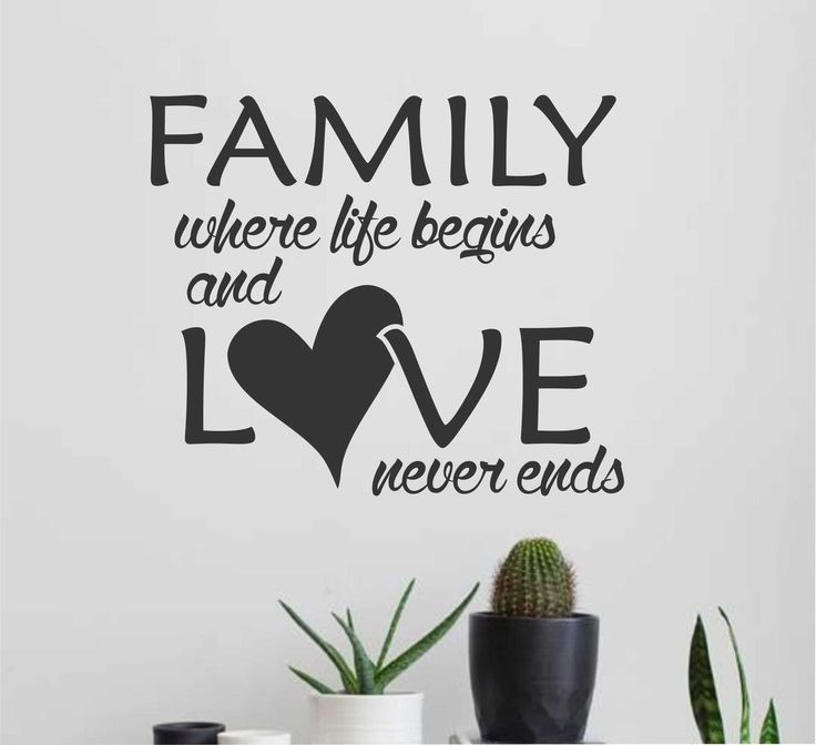 Family Life Begins Love Never Ends Vinyl Wall Lettering Heart Decal