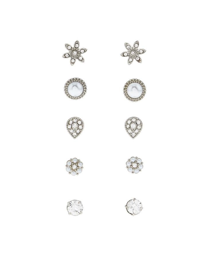 Complement occasion looks with this five-pair classic stud earring set, inlaid with glossy pearl beads and sparkling crystal gems. Please be aware that this item is non-refundable.