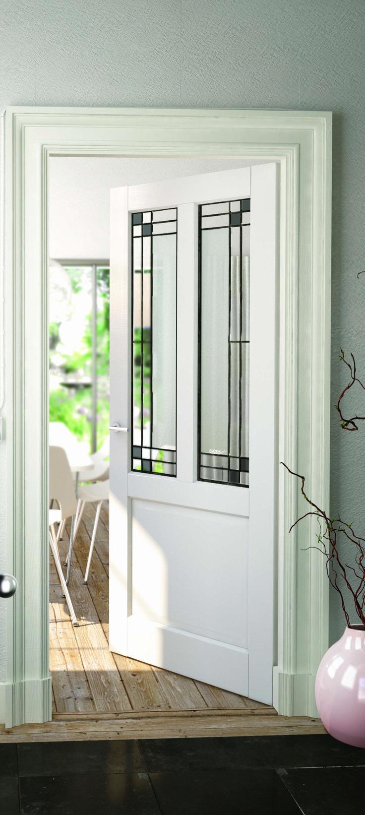 2adore binnendeur Gladiolus met ambachtelijke glas-in-lood ruit Vanille