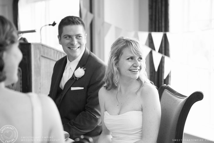 Bride and groom laughing at wedding speeches. Oakville Golf Club wedding photographer #sweetheartempirephotography