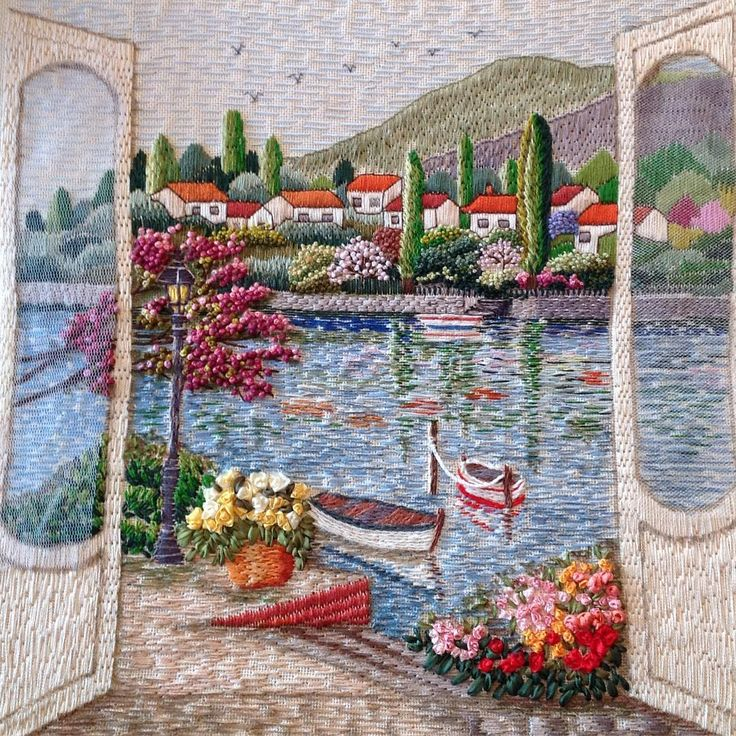 Good morning ... 🏡🌲🏡 We hope that all our doors are opened to such beauty ... (Our sight is just over ... The frame is waiting for you to go ... We seemed to live there for a long time ... It was hard to leave ... 😔) ... # #goodmorning # landscape # landscape # decorative span # embroidery # embroidery # handmade # handembroidery # handmade # elnakış # needleart #needlework #
