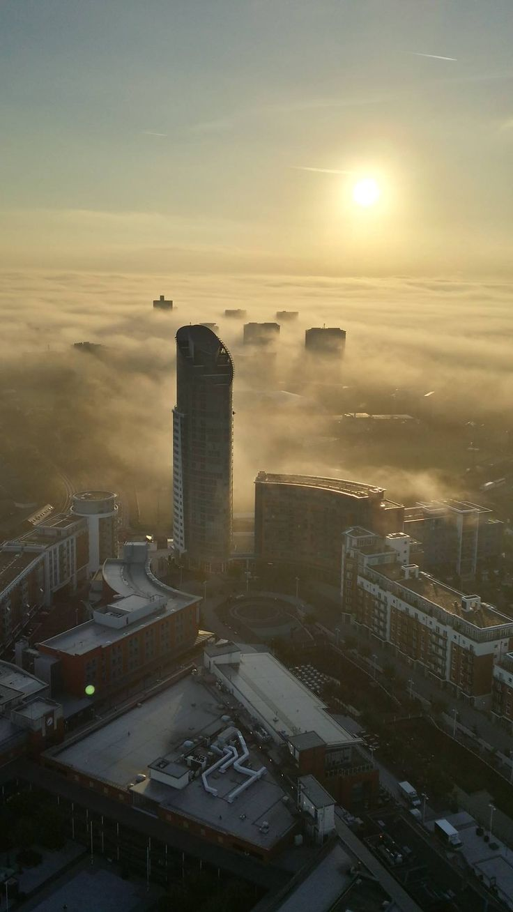 From Facebook. View of the foggy city this morning from the Spinnaker Tower. Portsmouth, UK 3.10.14