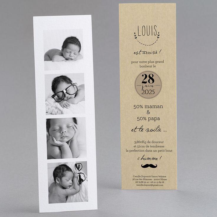 Faire-part de naissance personnalisés, faire-partardoise, vintage, photomaton fpc