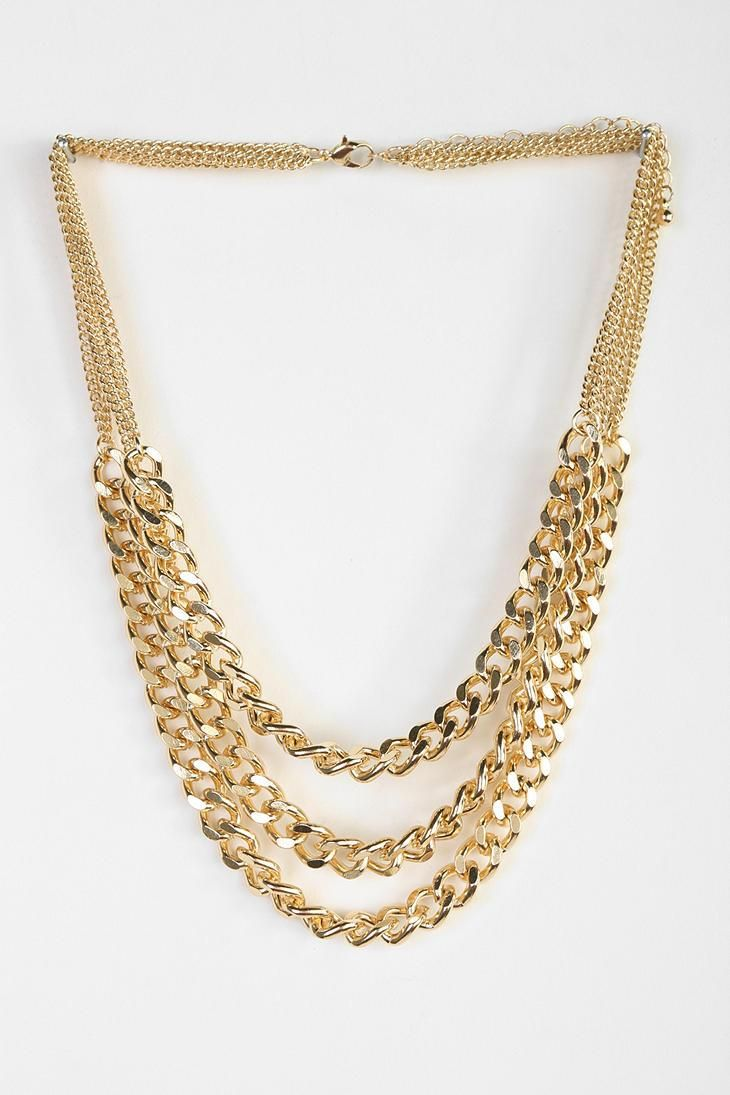 Triple Chain Statement Necklace #urbanoutfitters