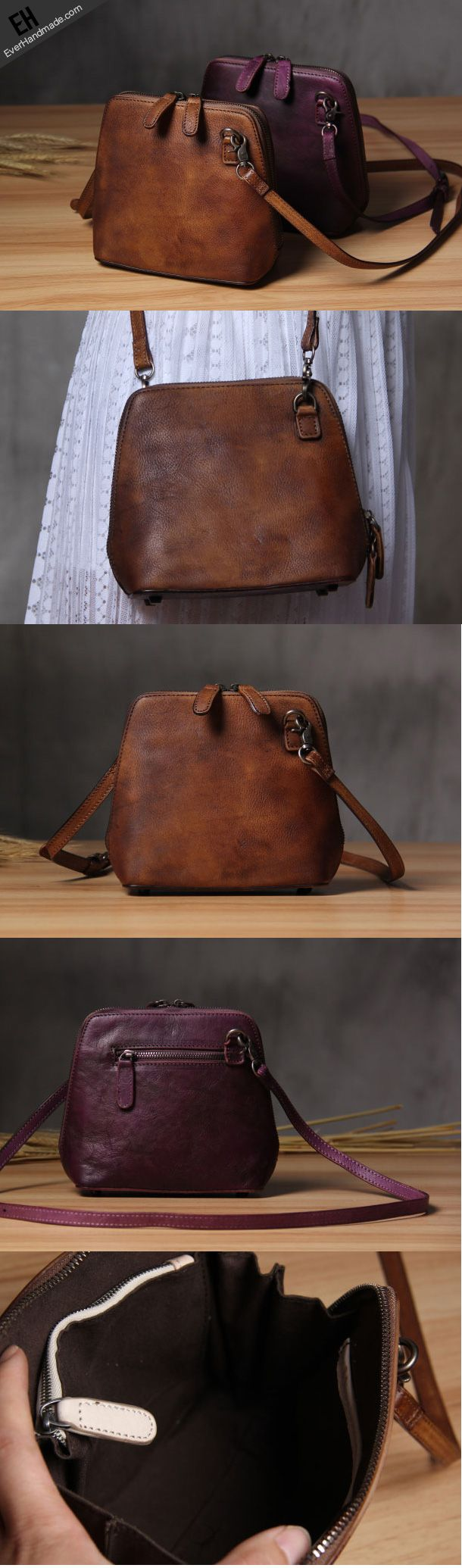 Handmade Leather phone purse shoulder bag for women leather