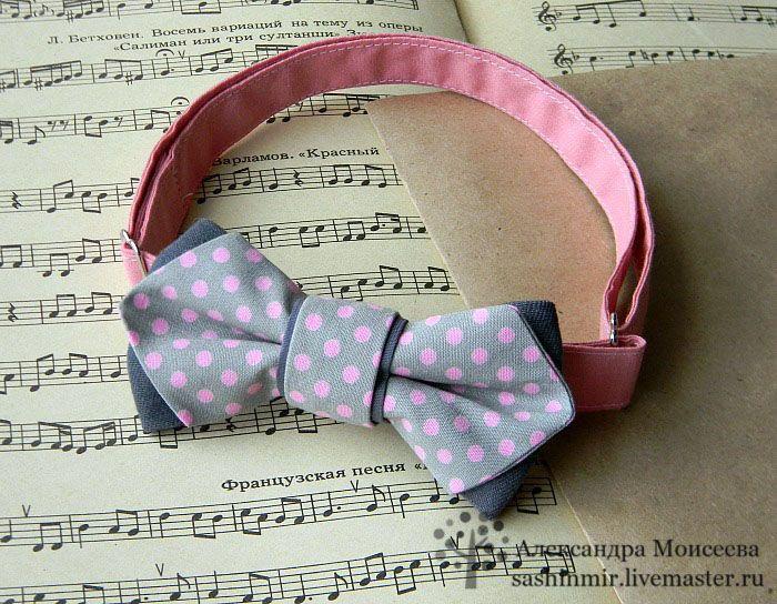 """Купить Бабочка - галстук """"Розовый горошек"""" - бледно-розовый, в горошек, бабочка, бабочка на шею"""