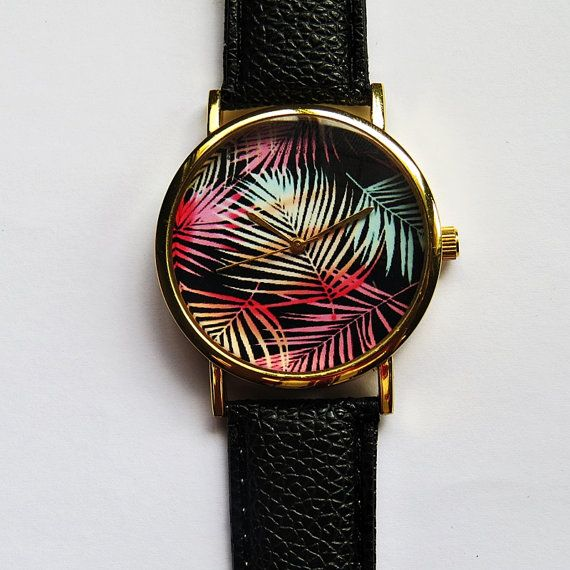Ombre Tropical Palm Tree Leaves Watch Vintage Style by FreeForme