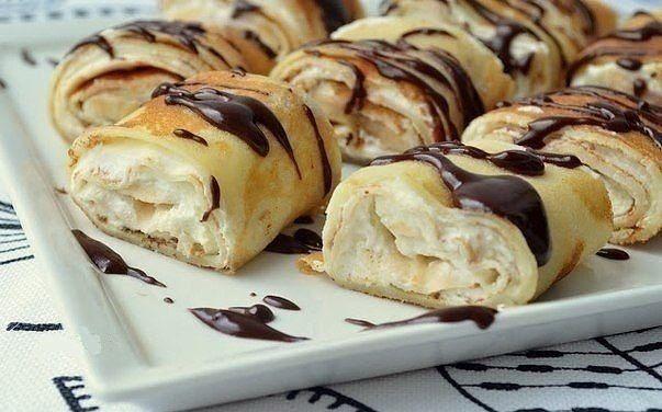 Роллы из рисовых блинчиков с творожно-банановым кремом и шоколадным соусом | Рецепты для Вас!