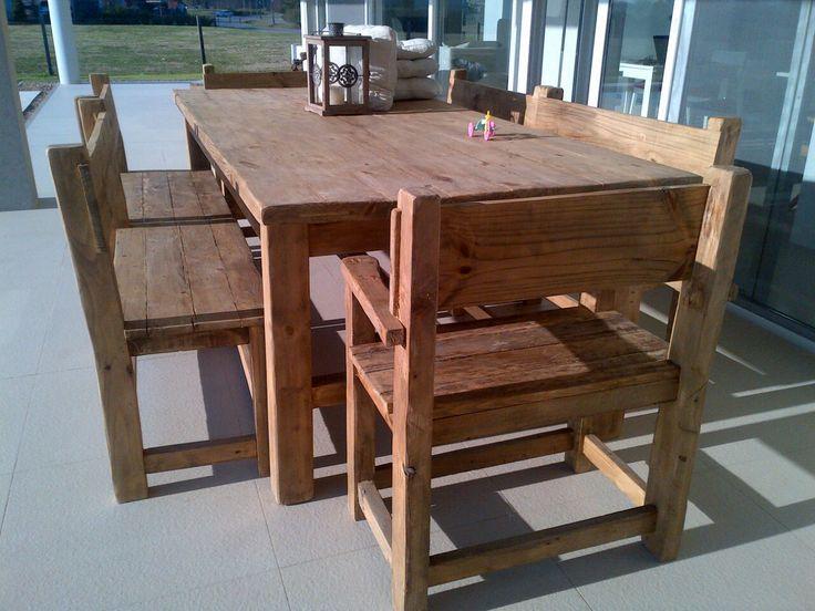 Mesa de campo para galeria con banquetas y cabeceras muebles de exterior by antigua madera - Mesas de madera exterior ...