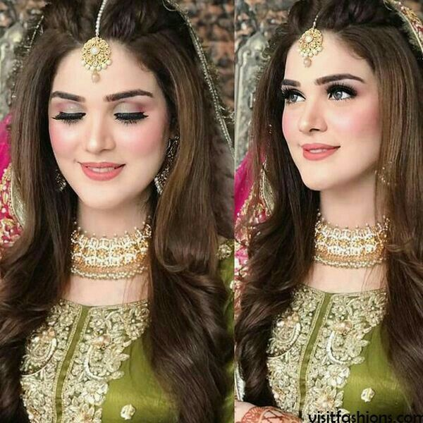 Pakistani Wedding Party Hairstyle Bridal Makeup Looks Engagement Hairstyles Bridal Hairdo